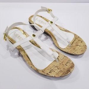 Lauren Ralph Lauren T-Strap Kya Sandal White Sz 8